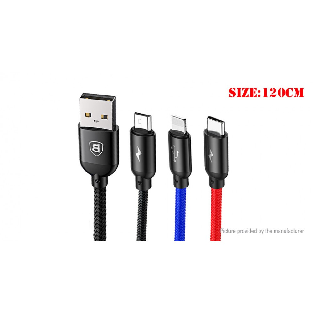 Authentic Baseus 3-in-1 USB-C/Micro-USB/8-pin Braided Data & Charging Cable (120cm)